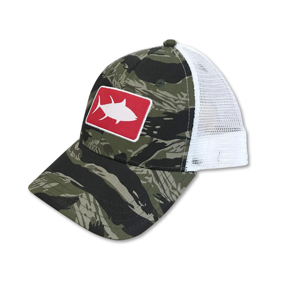 White Marlie Youth Camo Tuna Trucker Hat