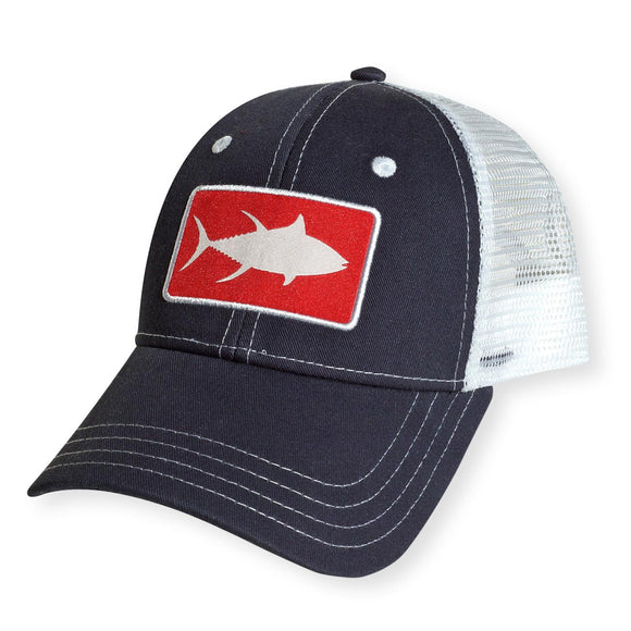 White Marlie Youth Navy Tuna Trucker Hat