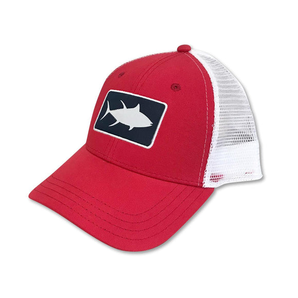 White Marlie Youth Red Tuna Trucker Hat