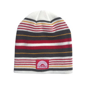 White Multi Striped Downhill Racer Beanie