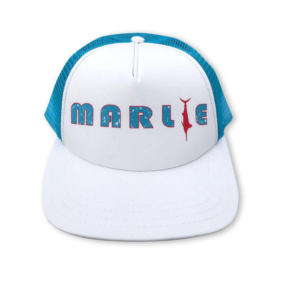 White and Aqua Marlie Trucker Hat