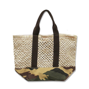 Woven Gold  Leather Camo Canvas Beach Bag