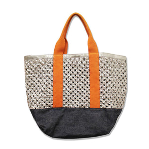 Woven Silver Leather Orange/Denim Canvas Beach Bag