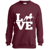 Love (Saddlebred) - Copy PC90Y Port and Co. Youth Crewneck Sweatshirt