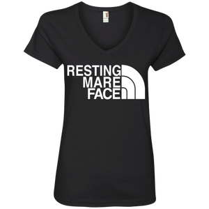 RESTING MARE FACE (white) 88VL Ladies' V-Neck T-Shirt