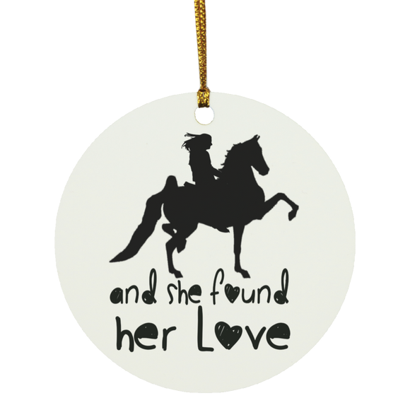 SHE FOUND HER LOVE (American Saddlebred) black art SUBORNC Circle Ornament
