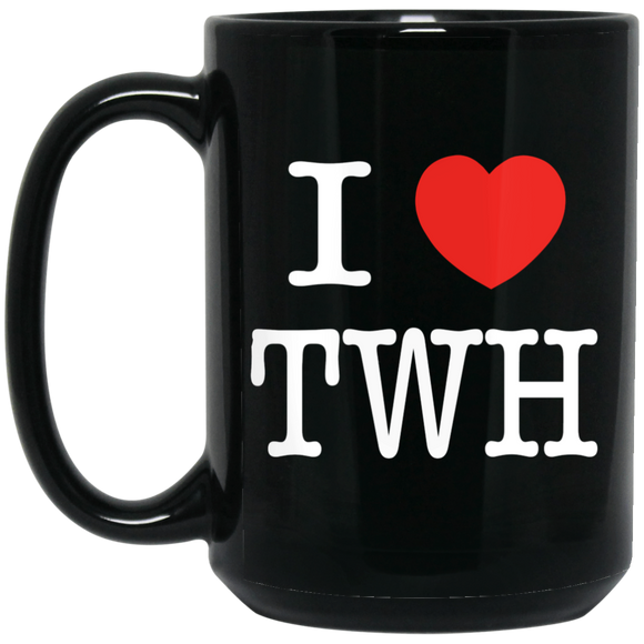 I LOVE TWH WHITE BM15OZ 15 oz. Black Mug