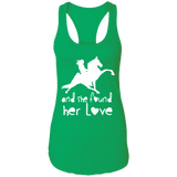 SHE FOUND HER LOVE (TWH performance) white art NL1533 Next Level Ladies Ideal Racerback Tank