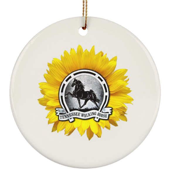 TWH Sunflower Vintage SUBORNC Ceramic Circle Ornament