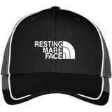 RESTING MARE FACE (white) C904 Colorblock Mesh Back Cap