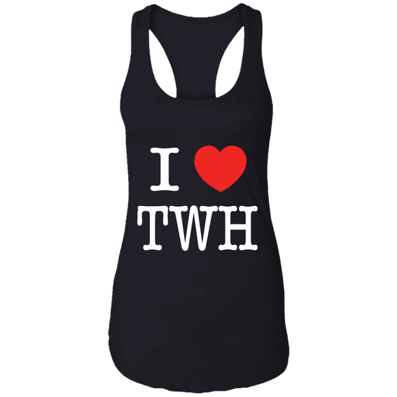 I LOVE TWH WHITE NL1533 Next Level Ladies Ideal Racerback Tank