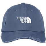 RESTING MARE FACE (white) DT600 Distressed Dad Cap