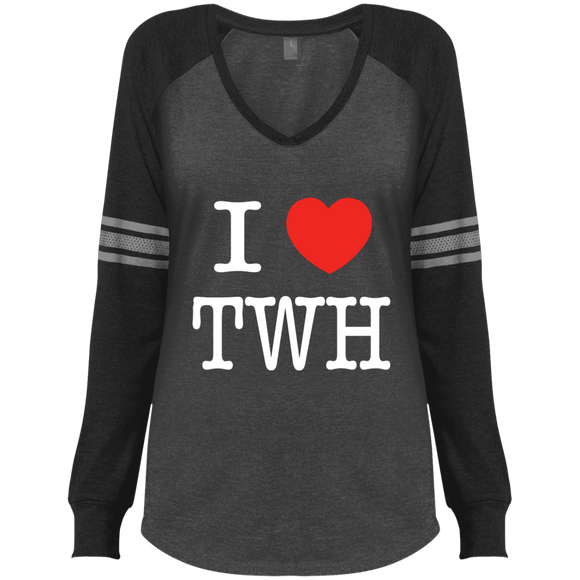 I LOVE TWH WHITE DM477 District Made Ladies' Game LS V-Neck T-Shirt