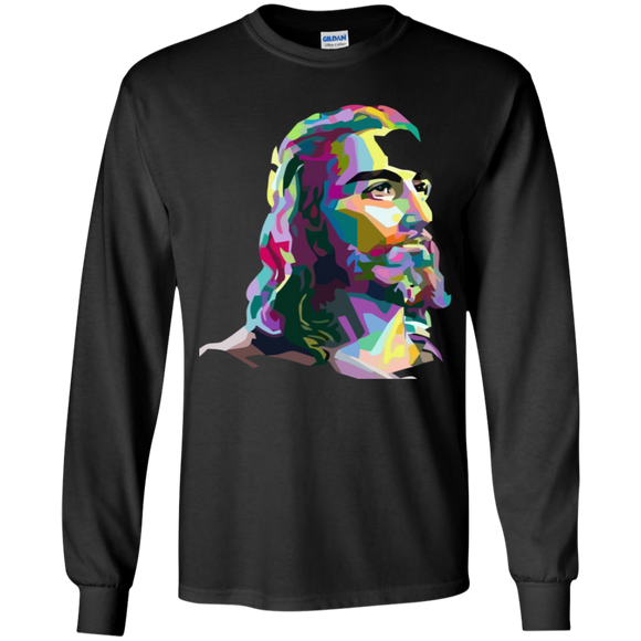 JESUS (multi color) G240B Youth LS T-Shirt