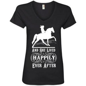 HAPPILY EVER AFTER (TWH Pleasure) Wht 88VL Ladies' V-Neck T-Shirt