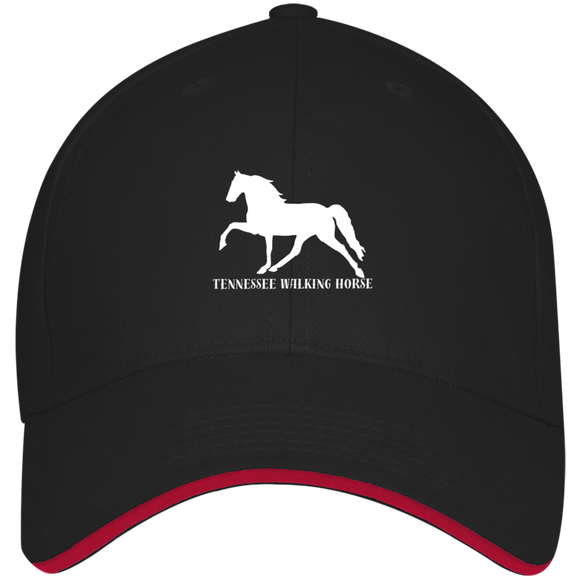Tennessee Walking Horse (Pleasure) with letters 3621 USA Made Structured Twill Cap With Sandwich Visor