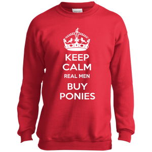 Keep Calm Real Men Buy Ponies (white) PC90Y Port and Co. Youth Crewneck Sweatshirt