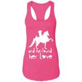 SHE FOUND HER LOVE (American Saddlebred) white art NL1533 Next Level Ladies Ideal Racerback Tank
