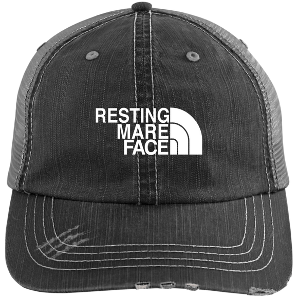 RESTING MARE FACE (white) 6990 Distressed Unstructured Trucker Cap