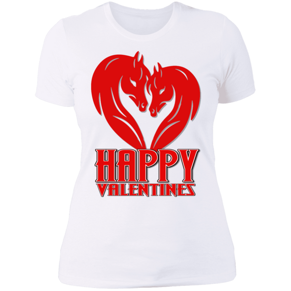 Horse Heart Happy Valentines NL3900 Next Level Ladies' Boyfriend T-Shirt
