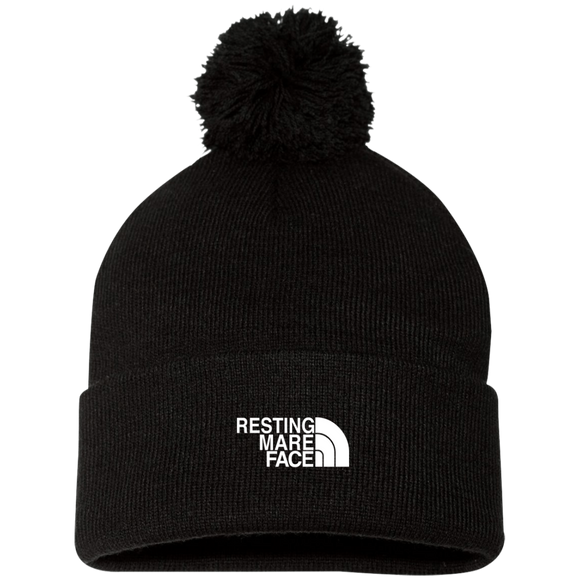 RESTING MARE FACE (white) SP15 Pom Pom Knit Cap