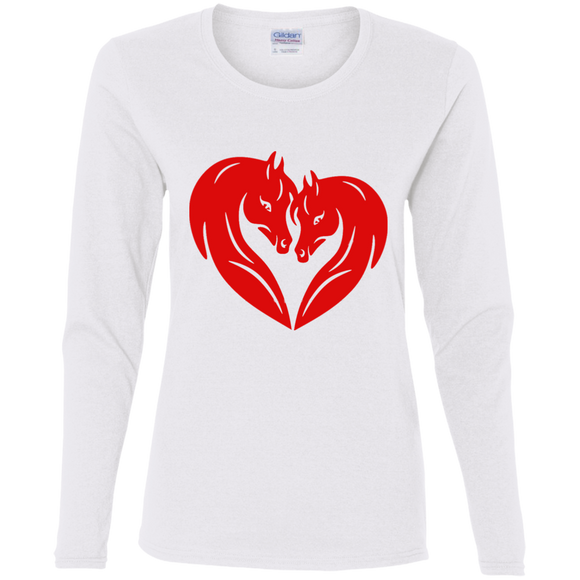 HORSE HEAD HEART G540L Gildan Ladies' Cotton LS T-Shirt