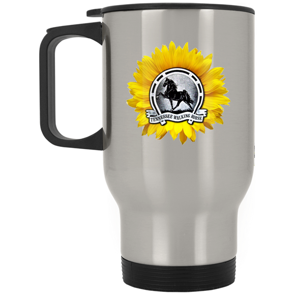 TWH Sunflower Vintage XP8400S Silver Stainless Travel Mug