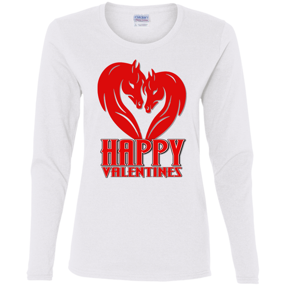 Horse Heart Happy Valentines G540L Gildan Ladies' Cotton LS T-Shirt