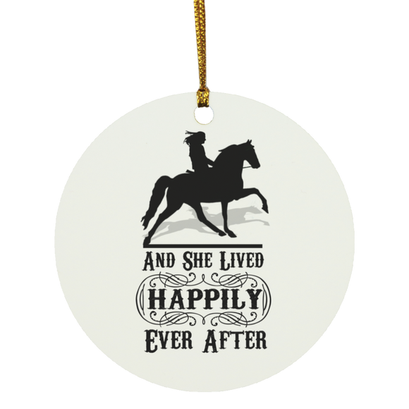 HAPPILY EVER AFTER (TWH Pleasure) Blk SUBORNC Circle Ornament