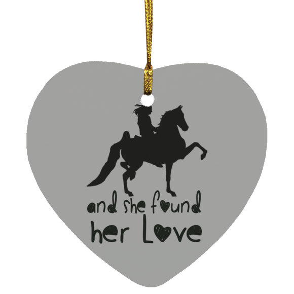 SHE FOUND HER LOVE (American Saddlebred) black art SUBORNH Heart Ornament