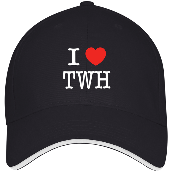 I LOVE TWH WHITE 3621 Bayside USA Made Structured Twill Cap With Sandwich Visor