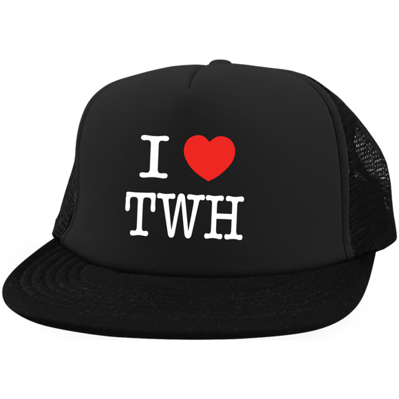I LOVE TWH WHITE DT624 District Trucker Hat with Snapback