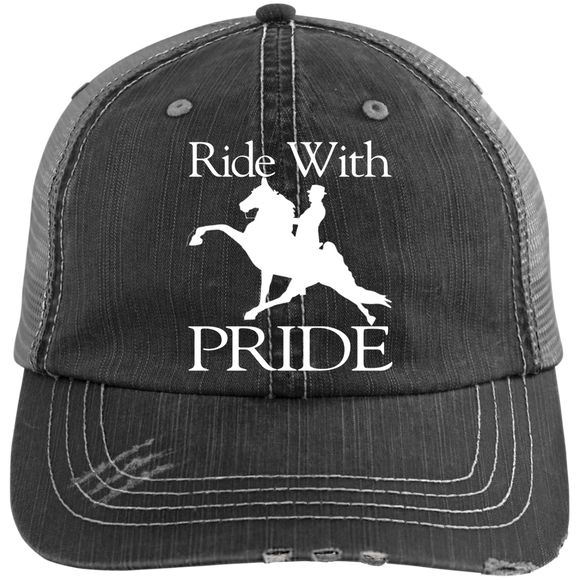 RIDE WITH PRIDE 6990 Distressed Unstructured Trucker Cap