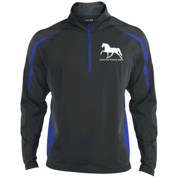 Tennessee Walking Horse (Pleasure) with letters ST851 Sport-Tek Men's Sport Wicking Colorblock 1/2 Zip