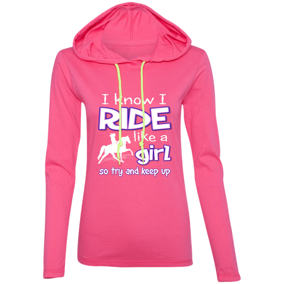 I RIDE LIKE A GIRL (TWH PLEASURE) 887L Ladies' LS T-Shirt Hoodie