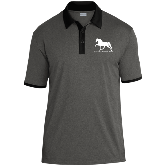 Tennessee Walking Horse (Pleasure) with letters ST667 Sport-Tek Heather Contender Contrast Polo