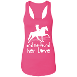 SHE FOUND HER LOVE (TWH pleasure) white art NL1533 Next Level Ladies Ideal Racerback Tank