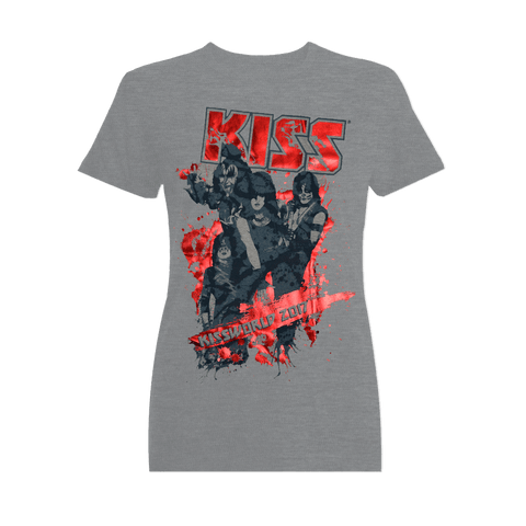 KISSWorld Ladies Grey with Red Shiny Letters German Logo T-Shirt