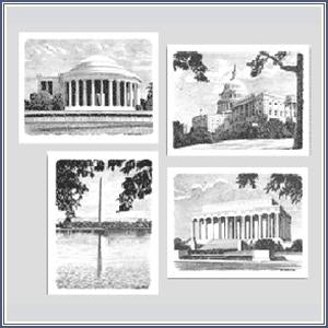 Notecards - Sketch Washington, D.C. Monuments