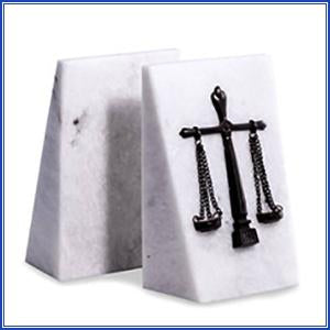 White Marble Scales of Justice Bookends