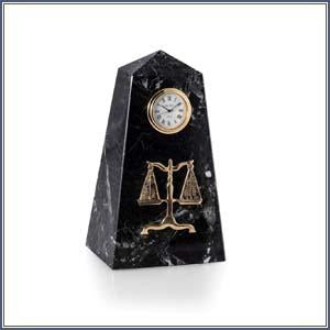 Clock - Zebra Marble with Scales of Justice