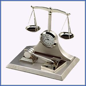 Clock - Scales/Book/Gavel-Silve
