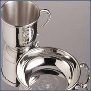 Pewter - Baby Set, Cup and Porringer Bowl