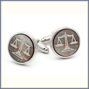 Cufflink - Smoked Mother of Pearl Scales of Justice
