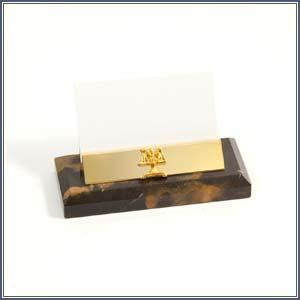 Card Holder - Tiger Marble with Scales of Justice