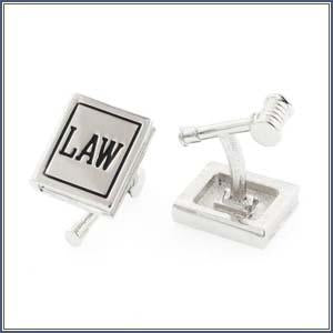 Cuff Link - Law Book/Gavel, Silv