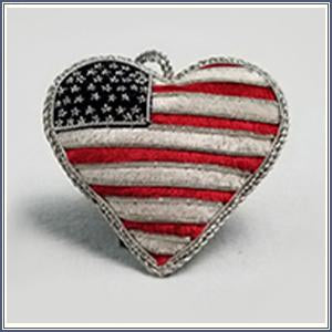 Ornament - Embroidered Heart Flag