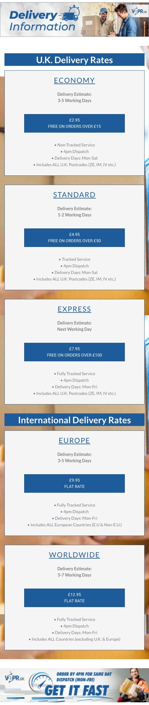 V8PR.uk - Delivery Rates & Information