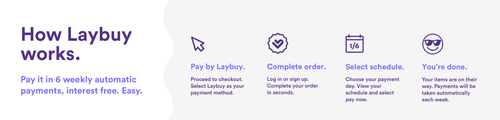LayBuy | How it Works. Pay it in 6 weekly automatic payments, interest free. Easy. Pay with Laybuy. Complete order. Select schedule. You're done.