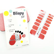 Load image into Gallery viewer, Red and white polka dot pedicure polish strips